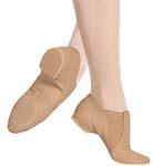bloch s0499g girls elasta bootie jazz shoe tan color swatch