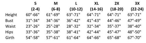 eurotard 10333 adult ankle legging sizing chart