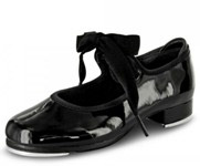 bloch s0350 girls annie tyette tap shoes black patent color swatch