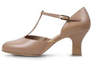 bloch s0390 ladies splitflex t strap character shoe tan color swatch