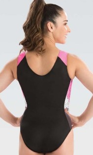 gk elite 3809 pink rival gymnastics workout leotard back