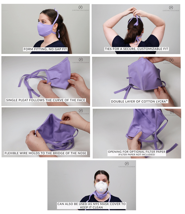 eurotard ppe reusable cotton face mask and n95 mask cover for corono virus protection