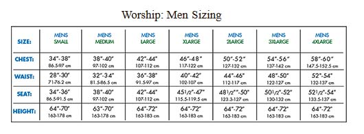body wrappers m633 mens stained glass praise robe sizing chart