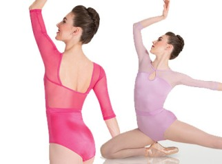 body wrappers p1009 mesh three quarter sleeve keyhole leotard