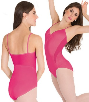 body wrappers p1120 petite floral mesh leotard