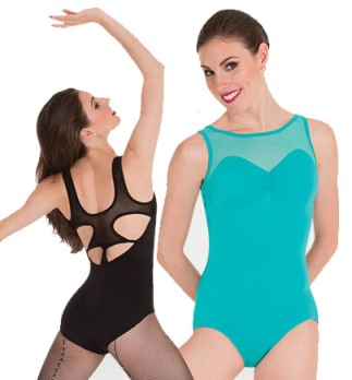 body wrappers p1181 pointelle mesh cut out back leotard