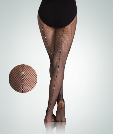 body wrappers a64 total stretch rhinestone backseam fishnet tights