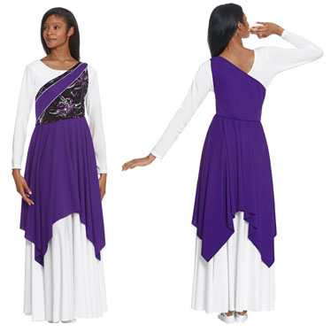 eurotard 83567 opulant orchid asymmetrical tunic