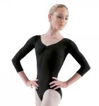 bloch l5436 ballon low back 3/4 sleeve dance leotard