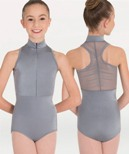 body wrappers p1002c childrens tiler peck power mesh zip front leotard