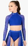 body wrappers tw302 child performance twinkle mesh long sleeve crop top