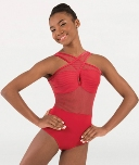 body wrappers p1230 fine mesh stripe cross over front leotard