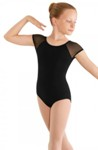 mirella m411c child soft mesh cap sleeve leotard