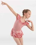 body wrappers 2415 extended shoulder skirted leotard dress