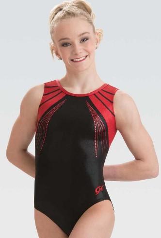 GK Elite Jeweled Black//Red Gymnastics Leotard AS Adult Small 4172