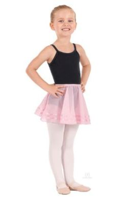 eurotard 02174 child chiffon pull on skirt with double satin ribbon trim detail