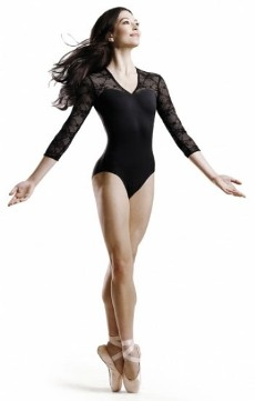 bloch l6016 lace bodice open back 3/4 sleeve leotard