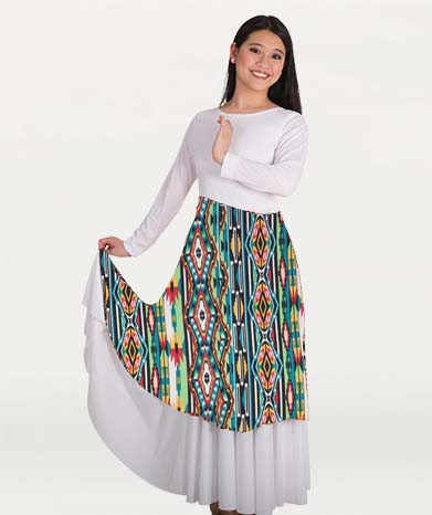 body wrappers 664 printed flowing panel tunic and skirt