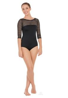 eurotard 61751 adult dstriped satin 3/4 sleeve leotard,eurotard 61751