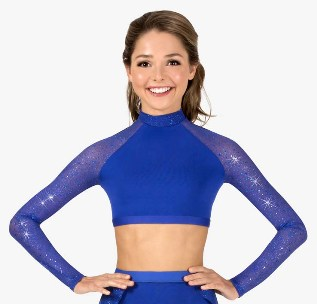 body wrappers tw602 performance twinkle mesh long sleeve crop top