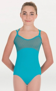 body wrappers p1112 child diamond mesh cross back cami leotard