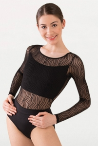 body wrappers p1091 tiler peck wavy lines mesh long sleeve leotard