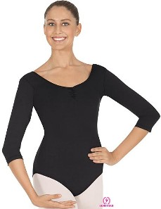 Eurotard 4408 Tactel® Microfiber Pinch Front & Back ¾ Length Sleeve Leotard