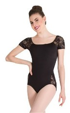body wrappers p1082 tiler peck lace short sleeve leotard